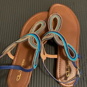 CL Chinese laundry gold/blue sandals